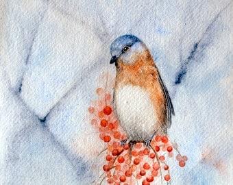 Bluebird Waiting - Original Blue Bird Painting