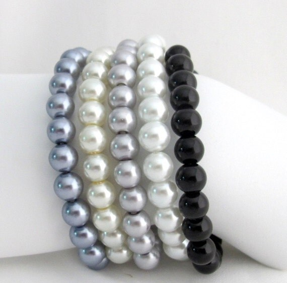 Set Of White Gray Black Pearl Stretchable Bracelet Ivory Silver Gray Medium Gray White Black Bracelet