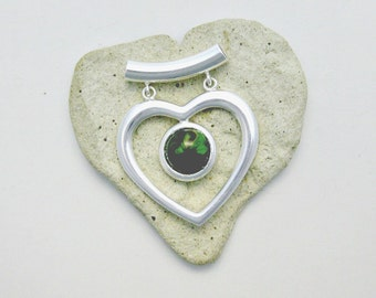 Fused Glass Jewelry / Silver Heart / Green Yellow Glass Pendant