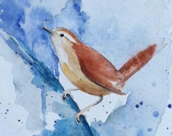 "Bird Painting ""Carolina Wren"" Original Watercolor Painting 5"" x 7"" by Mary Rogers Handmade USA"