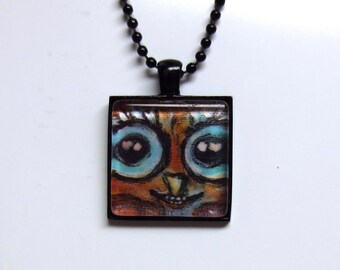 Owl eye love hearts painting Art Glass Tile Pendant Necklace