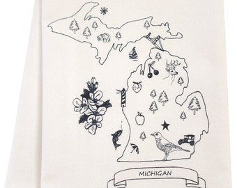 Michigan organic tea towel