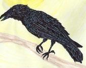 Raven, Crow, Corvid Print of Original Sharpie Marker Art