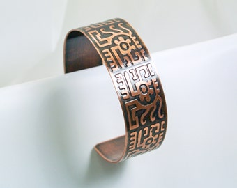 Copper Cuff - Mexican Gods - Men's L Bracelet for very Large Wrists