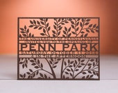 Tree Save the Date, Laser Cut