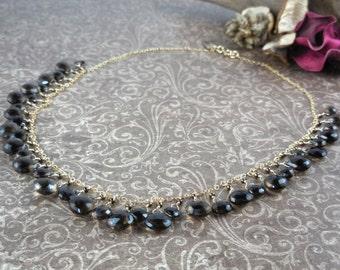 Gold Filled Smoky Quartz Briolette Chain Necklace