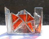 Sweetness of the Orange (Zen Zone Chakra Line of Triangle Shaped Rainbow Themed Stained Glass Candle Holder)