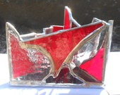 Muladhara / Big Bad Red (Zen Zone Line of Triangle Shaped Rainbow Themed Stained Glass Candle Holder)