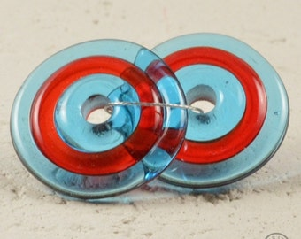 Handmade lampwork matching pair disc beads - Turquoise, Red, Turquoise