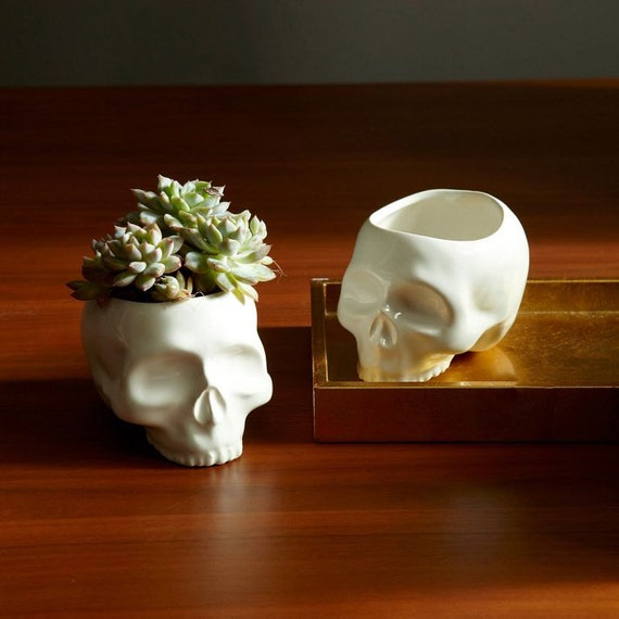 Ceramic Skull Flower Vase Candy Dish Planter by mudpuppy on Etsy