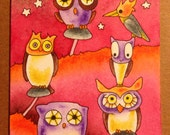 Original Watercolor Painting OWLS art ACEO