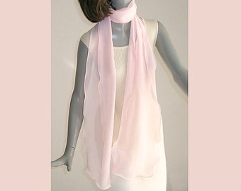Light Pink Scarf, Sheer Pink Scarf, Hand Dyed Silk, Made to Order, Artisan Handmade, Pink Bridal Scarf, Silk Chiffon Wrap, Artinsilk.