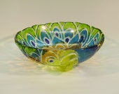SALE-Fused Glass Peacock Bowl with Feet