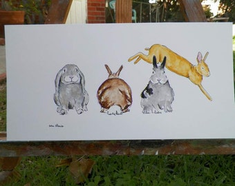 Bunny Rabbit Line Up Jumping Bunny Watercolor Bunny Art Original Painting by Artist Debra Alouise