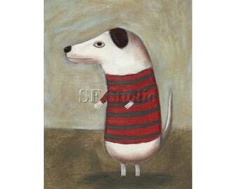 Whimsical Dog Art, Dog Print, Dog Folk Art, Dog Illustration, Children's Wall Art, Dog with Sweater, Boy's room, Fun Picture, White Dog