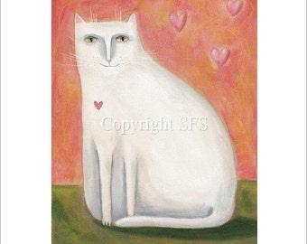 Cute Cat Art, White Cat, Whimsical Print, Cat Folk Art, Baby's Room, Nursery Decor, Cat Lover Gift, Love Picture, Happy Wall Art, Naive Art