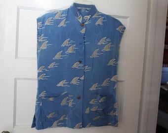 SHARK WEEK Silk Shark Fin Blouse.  Very UNUSUAL.