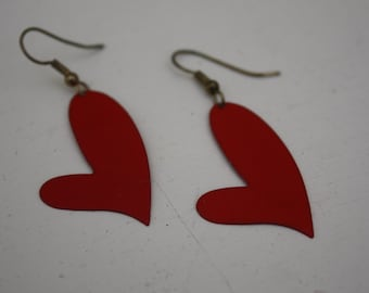Valentine Earrings / Pierced / Red Dangle Hearts