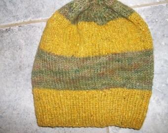 Hand knit hat cap slouchy beanie unisex men women Peace Fleece Icelandic Wool merino  mohair gold greens hand dyed extra large