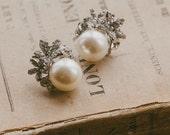 Vintage Inspired Pearl & Crystal Stud Earrings, CARRIE