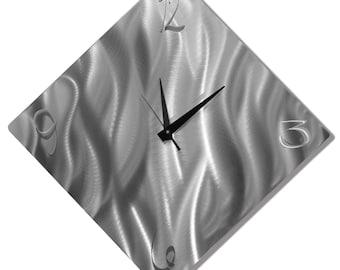 Silver Modern Metal Wall Clock - Contemporary Functional Art - Home Decor - Hanging Timepiece - Clock Accent - Final Countdown by Jon Allen