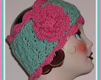 Seafoam Green Ear Warmer Mauve Headband Ski Head Band Pink Flower Sea Foam Extra Wide