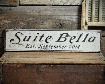 Custom Bedroom Suite Est Date Sign - Rustic Hand Made Vintage Wooden ENS1000664
