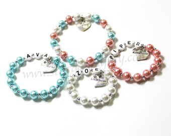 Mom and her girls. Personalized and customized bracelets for Mother, Big Sister, Middle Sister, & Little Sister. ONE BRACELET.