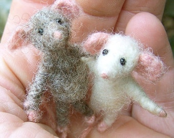 A pair of little posable wired organic mice, mouse, needle felted dollhouse people