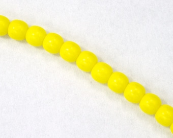 6mm Opaque Yellow Druk Bead (50 Pcs) #GAD013