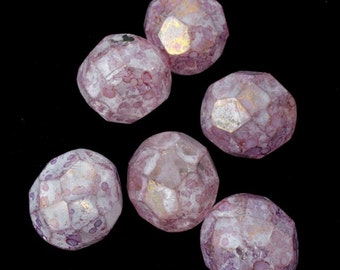 8mm Stone Matte Gold Luster Rose Fire Polished Bead (25 Pcs)  #GBF080