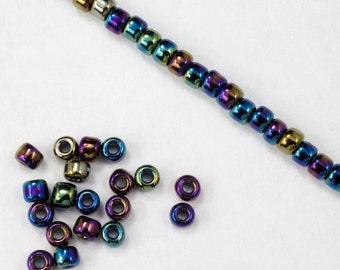 8/0 Metallic Blue Iris Seed Bead (40 gram) #JFP004