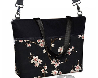 "17 inch Laptop Tote Bag Womens Briefcase Asian Blossom Laptop Crossbody  Bag 15.6""  pockets zipper cherry red black white MTO"