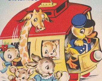 Vintage Little Animals Get Well Soon Juvenile Greetings Card (B13)