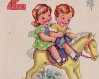 Vintage 2 Years Old Happy Birthday 1948 Greetings Card (B13)