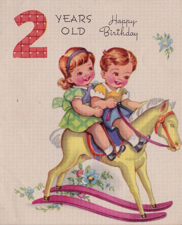 Vintage 2 Years Old Happy Birthday 1948 Greetings Card B13