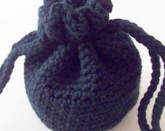 Crochet Drawstring Bag, Black Drawstring Crochet Bag, Crochet Drawstring Pouch, Small Drawstring Bag
