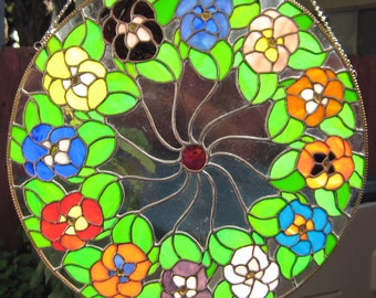 Pinwheel, Round Floral, 17 inches Diameter, Rainbow of Colors in Stained Glass, Panel Suncatcher