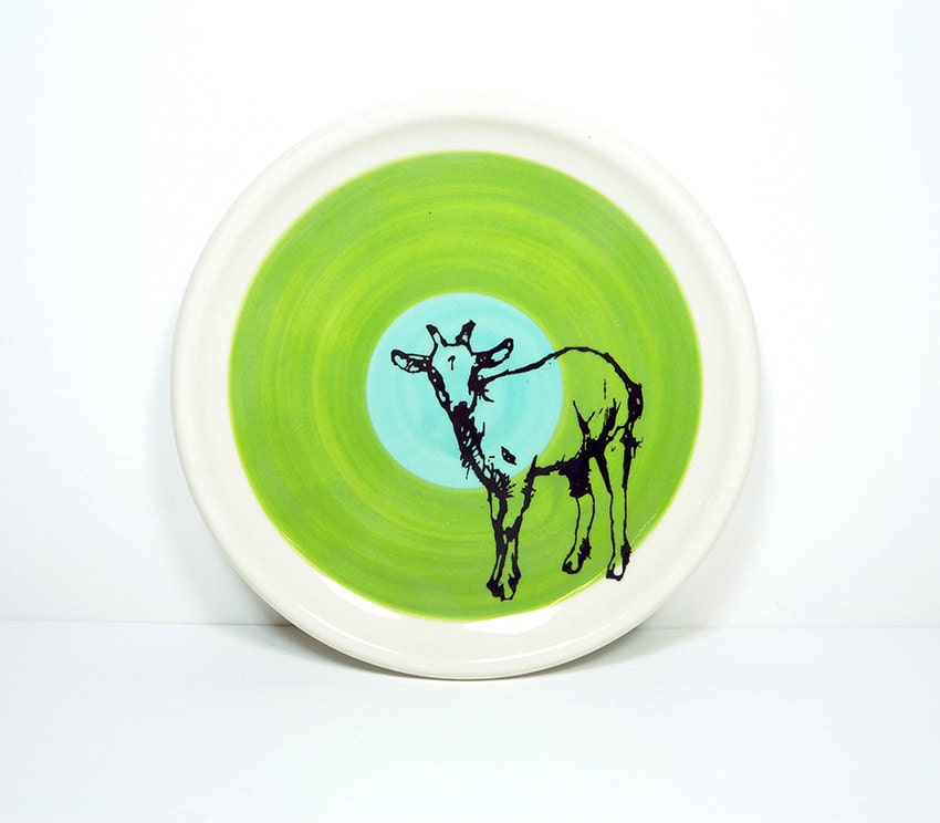 little plate billy goat in colour block of leaf green & blue green, made to order.
