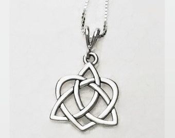 Celtic Trinity Heart Necklace with Sterling Silver Box Chain in 3 Lengths Fine Silver Plated Pewter Heart