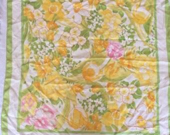 Vintage 1980s  Square Scarf  green, pink & yellow AVON Japan