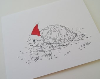 Tortoise Christmas Holiday Card, Turtle Christmas Card, Pet Tortoise Holiday Card, Single Christmas Holiday Card