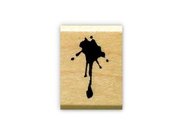 Splat mounted rubber stamp, spill, No. 15