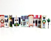 Miniature Holiday Village Wooden Art Blocks / Small Victorian Village / Charleston Village