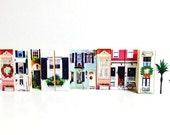 Miniature Holiday Village Wooden Art Blocks / Small Victorian Village / Charleston Village