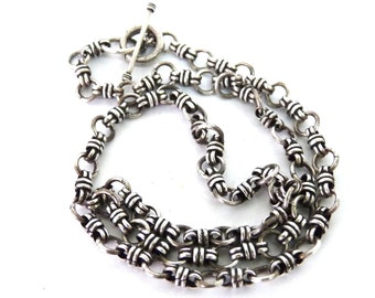 Sterling Silver Knot Chain Link Necklace Bismarck Silver Necklace