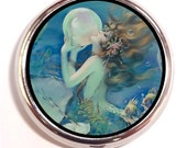 Mermaid With Pearl Pill box Pillbox Case Trinket pillcase Art Deco birth control case Medicine Organizer Vitamin Box
