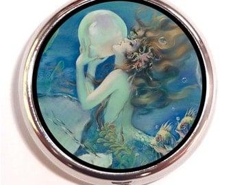 Mermaid With Pearl Pill box Pillbox Case Trinket pillcase Art Deco birth control case Medicine Organizer Vitamin Box
