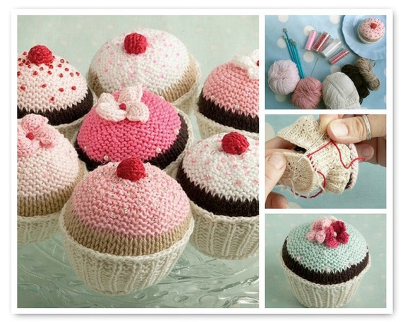 toy knitting pattern for a cupcake