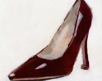 Art Print Shoe High Heel Red Pump 5x5 on 8x10 - Red Pump by David Lloyd